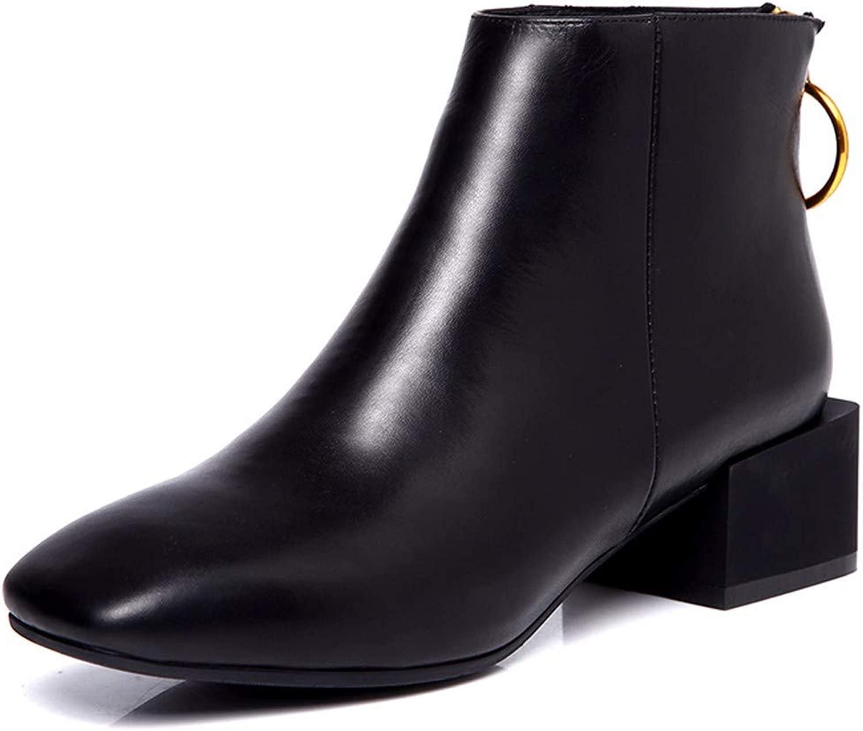 KOKQSX-Signore Corti Stivali Testa Quadrata Brutto Tac  Cuoio Molto di Moda Martin Stivali spoglia Gli Stivali.