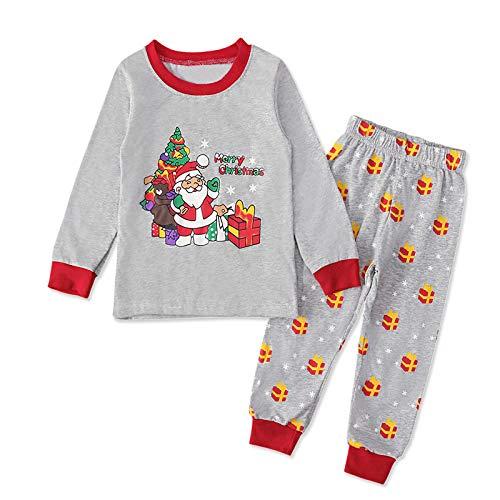 Christmas Pjs Kids Pyjamas Set for Boys Girls Xmas Pajamas Cotton Toddler Baby Clothes Girls Nightwear Fun Santa Claus Sleepwear Unisex Long Sleeve 2 Piece Nightwear Outfit Kids Gray