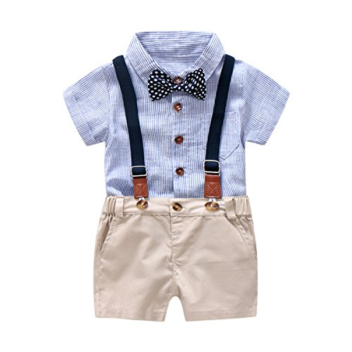 Baby Boys Gentleman Outfits Suits, Infant Blue Shirt+Bib Shorts+Tie+Suspenders Clothing Set,9-12M