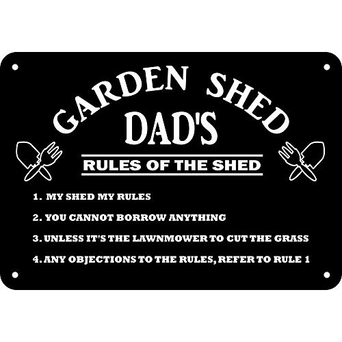 GiftsOnline4U Personalised Garden Shed Sign for Dad Plaque/Birthday/Fathers Day/Black/Rules/Inside Outside/24 x 16.5 Centimetre