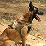 EXCELLENT ELITE SPANKER Tactical Dog Vest Training Military Patrol K9 Service Dog Harness Adjustable Nylon Dog Harness with Handle(Brown-L)