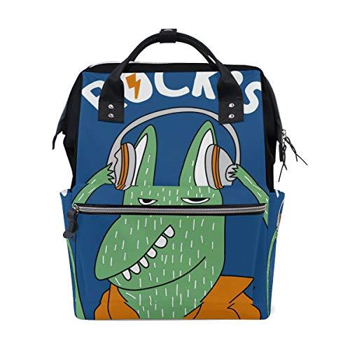 Rock's Funny Animal Sac à dos à langer pour maman Grand sac à dos unisexe Sac à langer Sac à dos de voyage Sac à dos d'école Sac pour ordinateur portable