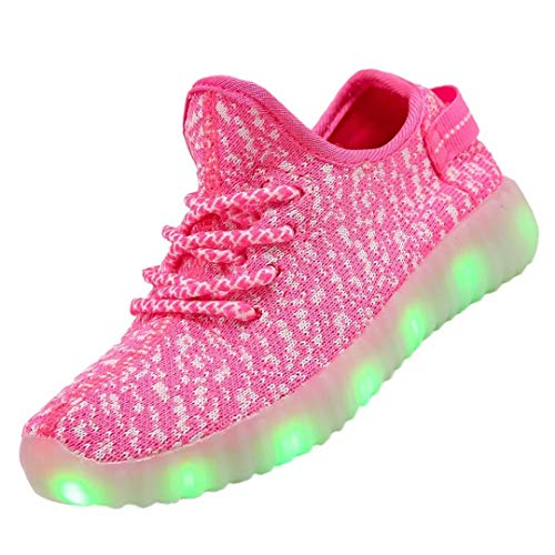 Kids Boys Girls Breathable LED Light Up Flashing Sneakers for Children Shoes(Toddler/Little Kid/Big Kid) TOLLN3001-Pink-31