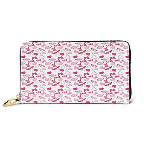 Women's Long Leather Card Holder Purse Zipper Buckle Elegant Clutch Wallet, Romance Related Images In Pink Pattern with Bows Lips Valentines Hearts,Sleek and Slim Travel Purse