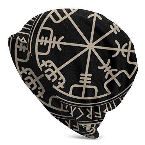 Unisex Slouchy Beanie Skull Cap Stretchy Warm Soft Baggy Knit Hat (Black Celtic Viking Design Magical Runic Compass Vegvisir in The Circle of Norse Runes and Dragons Tattoo Decorative)