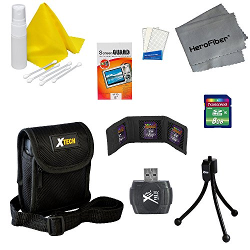 Accessory Kit for Sony Cyber-Shot DSC-W800 Digital Camera – Includes: 8 GB Memory Card and Card Reader, Protective Digital Camera Carrying Case, Mini Tabletop Tripod, Memory Card Wallet, Lens Cleaning Fluid, Cleaning Cloth, Universal Screen Protectors with Squeegee Card, 5 Cotton Swabs, HeroFiber Ultra Gentle Cleaning Cloth