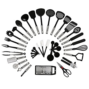 NEXGADGET 42-Piece Premium Cooking Utensils, Stainless Steel and Nylon Kitchen Utensils Set, FDA Approved Nonstick Kitchen Utensils with Spatula Kitchen Gadgets