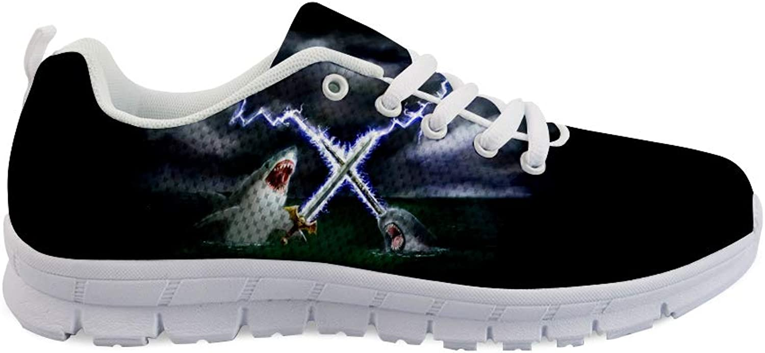 Owaheson Lace-up Sneaker Training shoes Mens Womens Shark Lightning Fighting with Narwhal