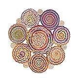 Vidal Regalos Alfombra Redonda Multicolor 90 cm 70% Algodón 30% Yute