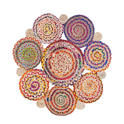 CAPRILO. Alfombra Decorativa de Yute y Algodón Círculos Multicolores. Decoración del Hogar. Regalos Originales. Dormitorios y Salón. Textil. 90 x 90 x 1 cm.