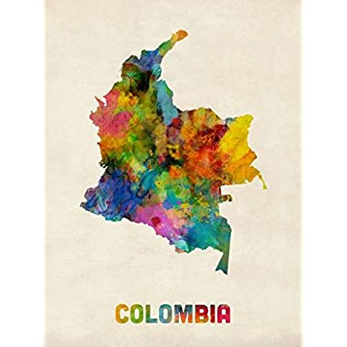 Imagekind Wall Art Print entitled Colombia Watercolor Map by Michael Tompsett | 24 x 32