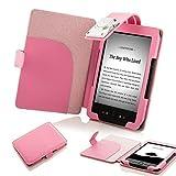 Forefront Cases Funda cubierta de cuero sintético para con luz LED para lectura color rosa, Case Cover Para el Amazon Kindle 4, pantalla de E Ink de 6' (15cm), wifi, color rosa - 5th Generación