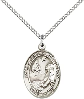 Sterling Silver St. Catherine of Bologna Pendant with 18