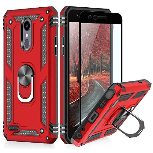 TJS Phone Case for LG Aristo 2/Aristo 2 Plus/Aristo 3/Aristo 3 Plus/Tribute Dynasty/Tribute Empire, with [Full Coverage Tempered Glass Screen Protector][Defender][Metal Ring][Magnetic Support] (Red)