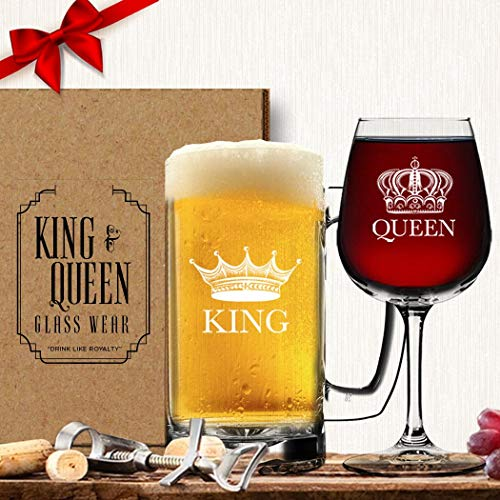 King Beer Queen Wine Glass (Set of 2) - His Hers Couple Drinkware - Newlyweds Wedding Anniversary Bridal Gift - Mr and Mrs Housewarming Birthday Glassware - Husband Wife Funny Fancy Royalty Novelty