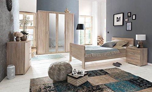 lifestyle4living Schlafzimmer 3-TLG, Eiche sägerau-Nachbildung, 4-TRG. Kleiderschrank B: 180 cm, Kompaktbett 90 x 200 cm, Nachtschrank B: 52 cm