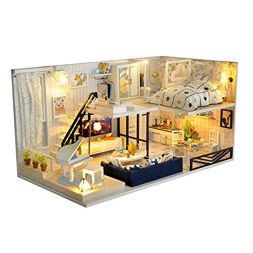 TuKIIE DIY Miniature Dollhouse Furniture Kit, 1:24 Scale Mini Wooden Doll House Accessories Plus Dust Proof for Kids Teens Adults
