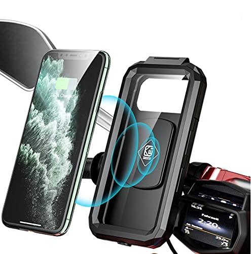 sZeao Soporte para Cargador Inalámbrico para Motocicleta, Soporte para Teléfono Impermeable con Pantalla Táctil De Carga USB, Compatible con Teléfonos De Carga Rápida Qi De hasta 6,9 Pulgadas,Small