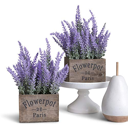 Butterfly Craze Artificial Lavender Plants in Box Pots (Set of Two) - Rustic Home Decor and Beautiful Lifelike Faux Silk Flower Arrangements for Kitchen, Office, Weddings & Beyond - Brown Boxes