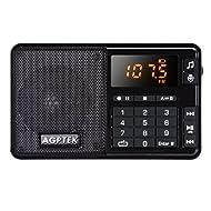 AGPTek R08 Tragbares Radio FM mit Lautsprecher, Kopfhöreranschluss, USB Anschluss unterstützt bis zu 32GB TF Karte, Schwarz
