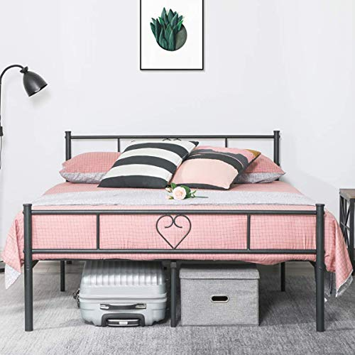 Aingoo Double Bed Frame 4ft 6 Metal Bed with Heart-Shaped for Adults Kids Children Solid Bedstead Base Large Storage Space, Black