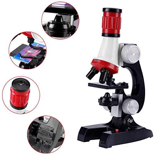Suszian Kits de microscopio de Ciencia para niños Microscopio para Principiantes con LED 100X 400X 1200X Ampliación Juguete Educativo para niños