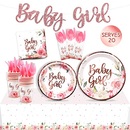 Floral Baby Girl Party Tableware Supplies Set Serves 20 Guests-Rose Gold Baby Shower Banner, Plates, Cups, Napkins, Table Cover, Pink Cutlery Kits-Kids Birthday Gender Reveal Disposable Decoration