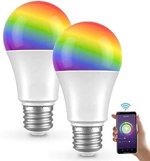 Saska Smart LED Bulb (Pack Of Two) E27 WIFI Control Color Adjustable Light Works with Amazon Alexa/Google Home RGB+CW+WW 10W