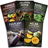 Survival Garden Seeds Warm Weather Collection Seed Vault - Non-GMO...