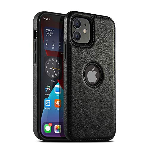 AZUOYI Funda de Piel Compatible con iPhone 11/12/Pro/Mini/Max, Resistente a rayones, Funda Protectora de Cuero Ultrafina,Negro,iPhone 12 Pro MAX