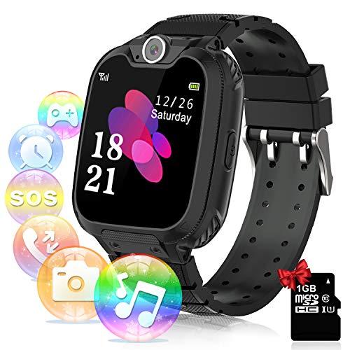 YENISEY Smartwatch per Bambini con Lettore Musicale - Gioco Puzzle Telefono SOS Smart Watch con Scheda SD Sveglia Fotografica Regalo di Compleanno Festival per Ragazzi e Ragazze TouchScreen (Nero)