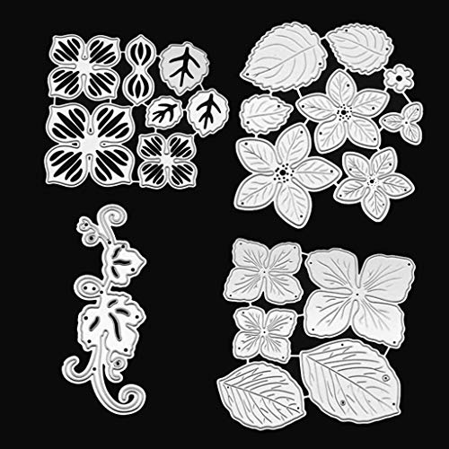 ECMQS 4 Pieces 3D Flower Stanzmaschine Stanzschablone, Scrapbooking Prägeschablonen Stanzformen Schablonen, Für DIY Scrapbooking Album, Schneiden Schablonen Papier Karten Sammelalbum Dekor