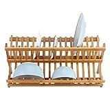 Estante para platos cruzados, de bambú, plegable, de dos niveles, escurreplatos...