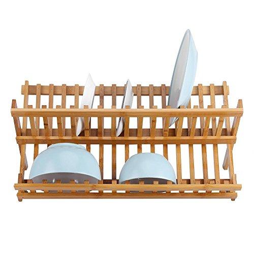 Estante para platos cruzados, de bambú, plegable, de dos niveles, escurreplatos escurridor, escurreplatos de madera de bambú natural