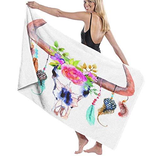 Toallas de baño súper Suaves suavidad,Cráneo de Toro de Acuarela con Plumas de Flores Colgantes Diseño Nativo Americano de inspiración étnica,Toallas de baño Grandes Ultra Absorbente 80x130CM