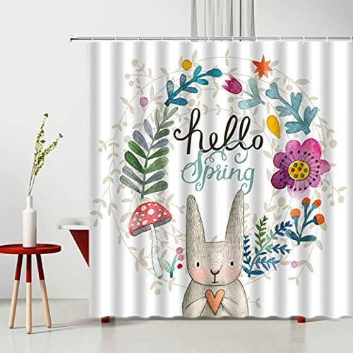 Cortina de Ducha para niños Dibujos Animados Abejas Encantadoras Flores de Conejo Tela de poliéster Impermeable decoración de bañera para el hogar