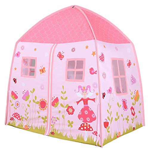 CSQ Pink Dreamy Garden Tent with Flowers Pattern, Enlarged Children's Playhouse Girl's Princess Tent House,Gift for Baby Girl Children's play house (Color : Pink, Size : 150 * 100 * 150CM)