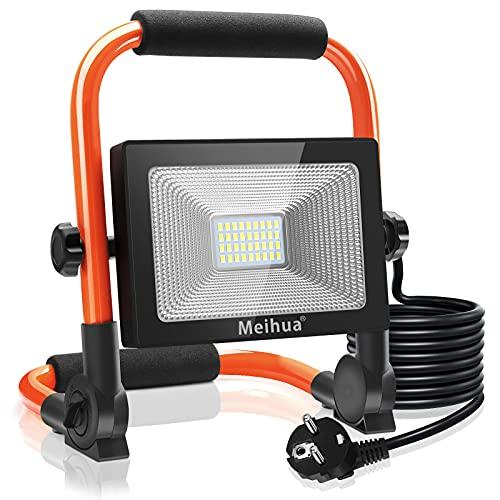 MEIHUA LED Baustrahler 30W 3400LM LED Strahler IP66 Wasserdicht Arbeitsleuchte 3.5M Kabel Flutlicht LED Fluter mit Stecker 6500K Kaltweiß Arbeitsscheinwerfer für Werkstatt Baustelle Garage