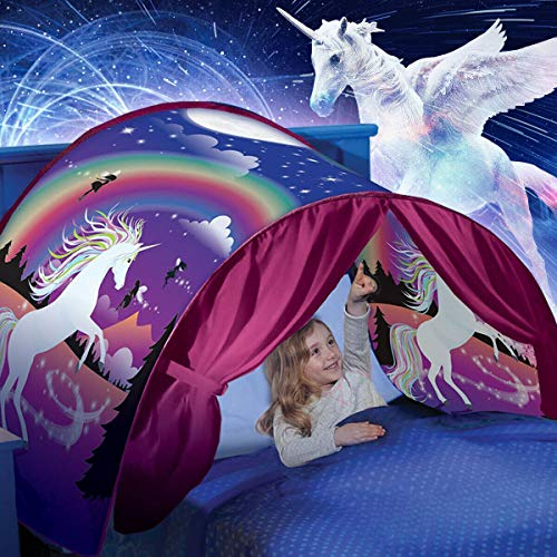 elebaby Girls Unicorn Dream Bed Tent Children Play Tent Folding Pop up Tents Indoor Princess Castle Playhouse Kids Birthday Gift