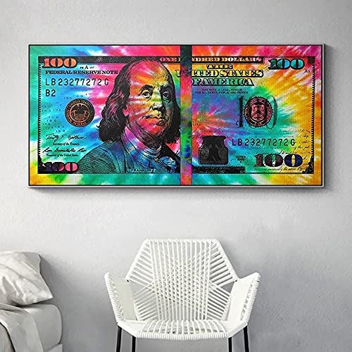 Carteles de pintura en lienzo de 100 dólares coloridos inspiradores e impresiones Cuadros imágenes artísticas de pared para la decoración del hogar de la sala de estar 35x70 CM (sin marco)
