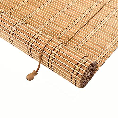Natürliche Bambus-Rollo Raffrollo,Pavillon Patio Bambusjalousien Rollläden mit Haken,Sichtschutz Rollo für Fenster und Türen,für raumhohe Fenster/Restaurant/Korridor,Anpassbar (80x100cm/32x39in)