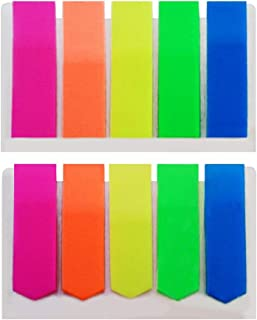 Flag Markers Self-Stick Page Markers - 600 ct. - 5 Neon Colors, Two Styles.