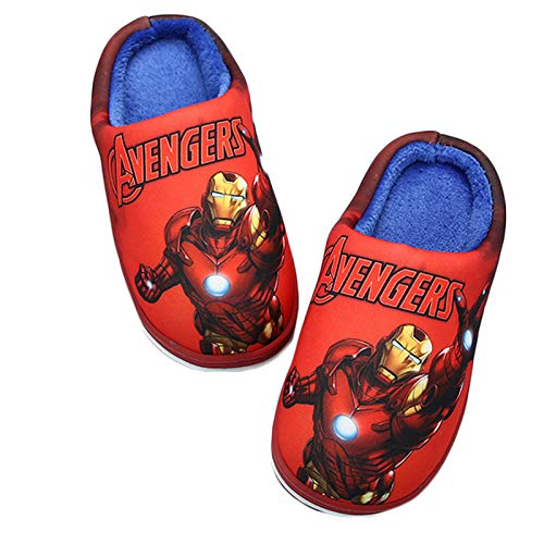 YEMAO Kinder Spiderman Captain America Baumwollpantoffeln Jungen verdicken rutschfeste warme Innen-Cartoon-Hausschuhe,B-37EU