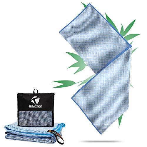 Travoyage ® Mikrofaser Strandtuch mit Taschen für Liege hellblau 70x180 cm | Mikrofaser Handtuch Bambus schnelltrocknend leicht dünn antibakteriell | Saunatuch Microfaser Strandtuch mit Kopfteil