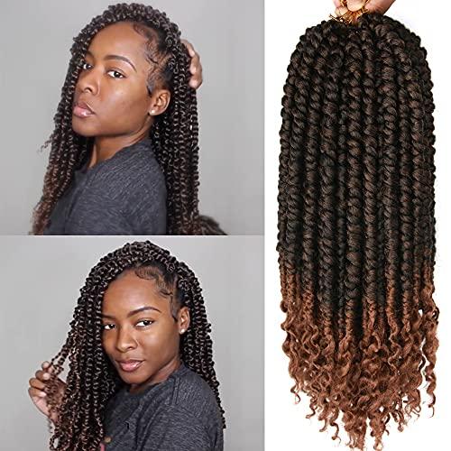 16 Inch Twist Crochet Hair Spring Twist Crochet Senegalese 8 Packs Crochet Hair For Black Women (1B/30#(16inch))