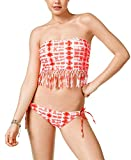 Raisins Womens Cabo Kiss Fringe Strapless Swim Top Separates Pink M