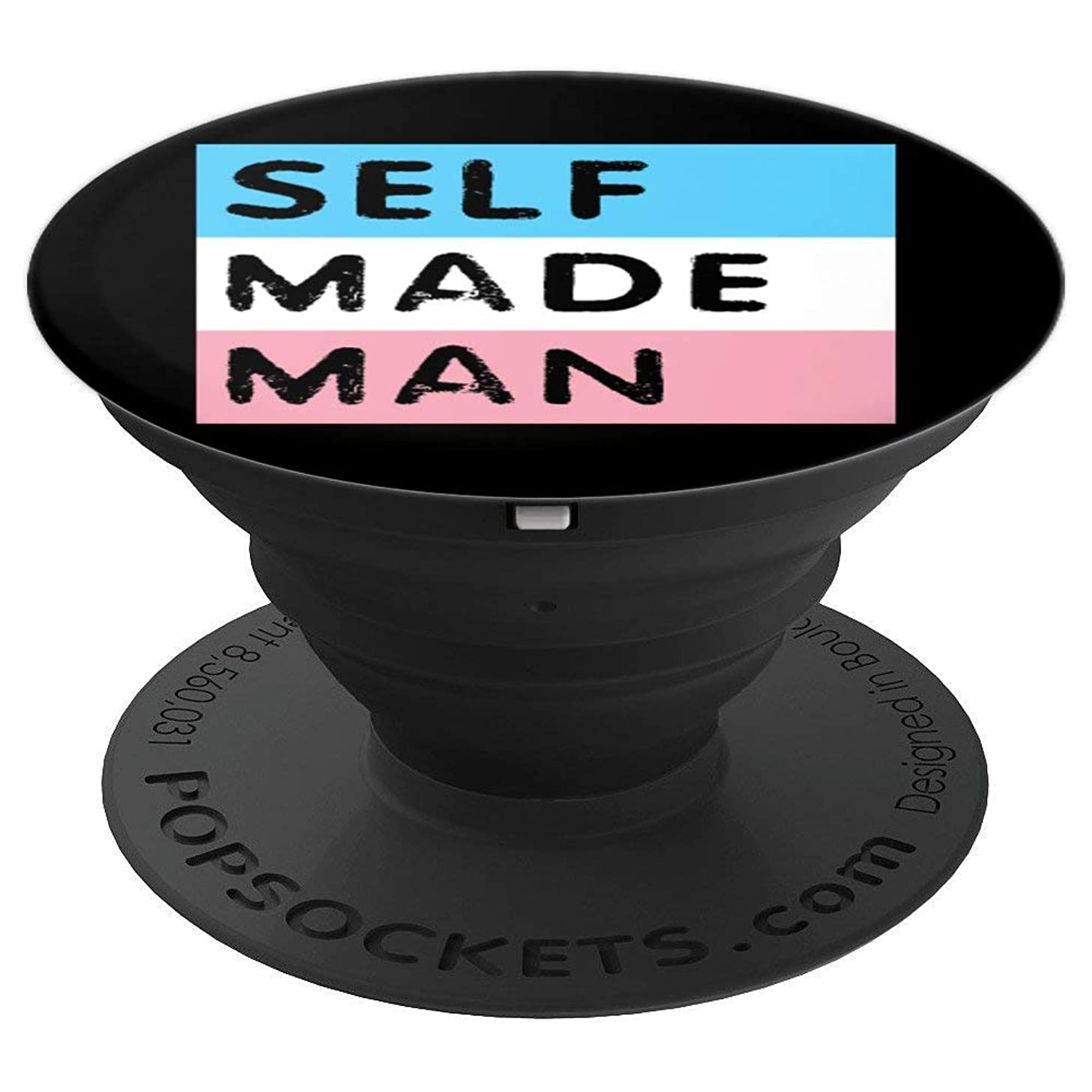 Self Made Man Trans Pride Black Transgender Gift for Men - PopSockets Grip and Stand for Phones and Tablets