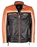 Maze Chaqueta de piel para hombre 4202191, negro y naranja, L