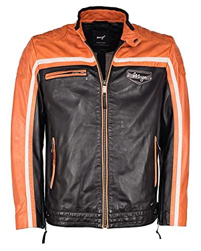 Maze Giacca in pelle da uomo 4202191, nero/arancione, M