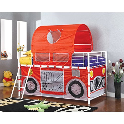 Furniture of America Kelby Twin Loft Bed with Fire Truck Playhouse